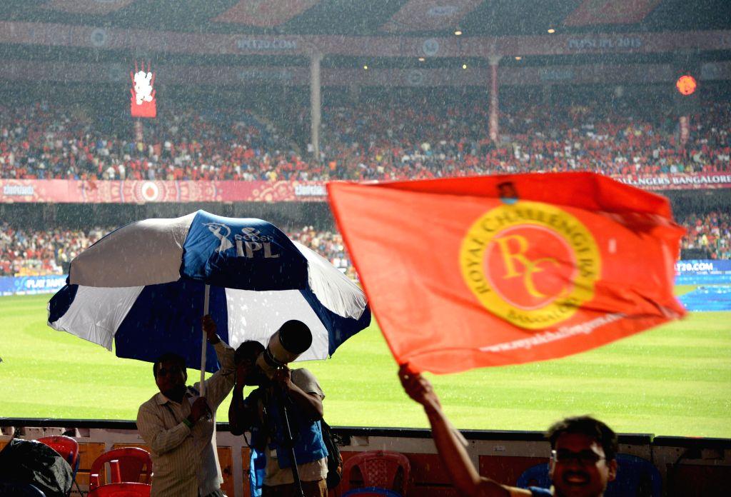 Rains disrupt the IPL-2015 match between Royal Challengers Bangalore and Rajasthan Royals at M Chinnaswamy Stadium in Bangaluru on April 29, 2015.