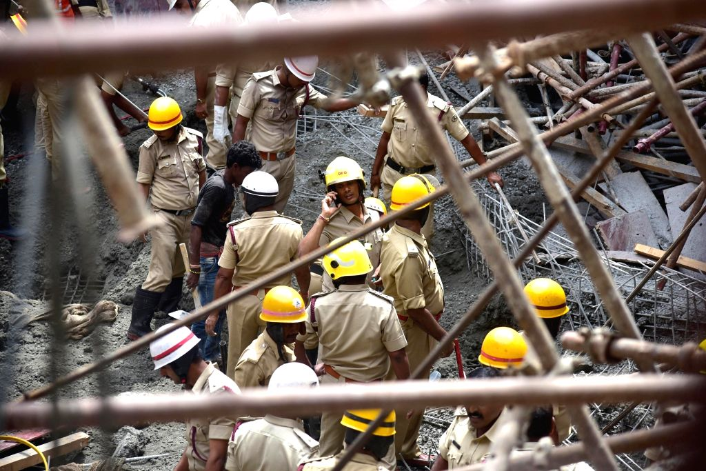 Bengaluru: Rescue operations underway after three workers were killed when a huge water tank under construction for a sewage treatment plant collapsed in the northern suburb of Bengaluru on June 17, 2019. The victims are reportedly from Bihar and Wes