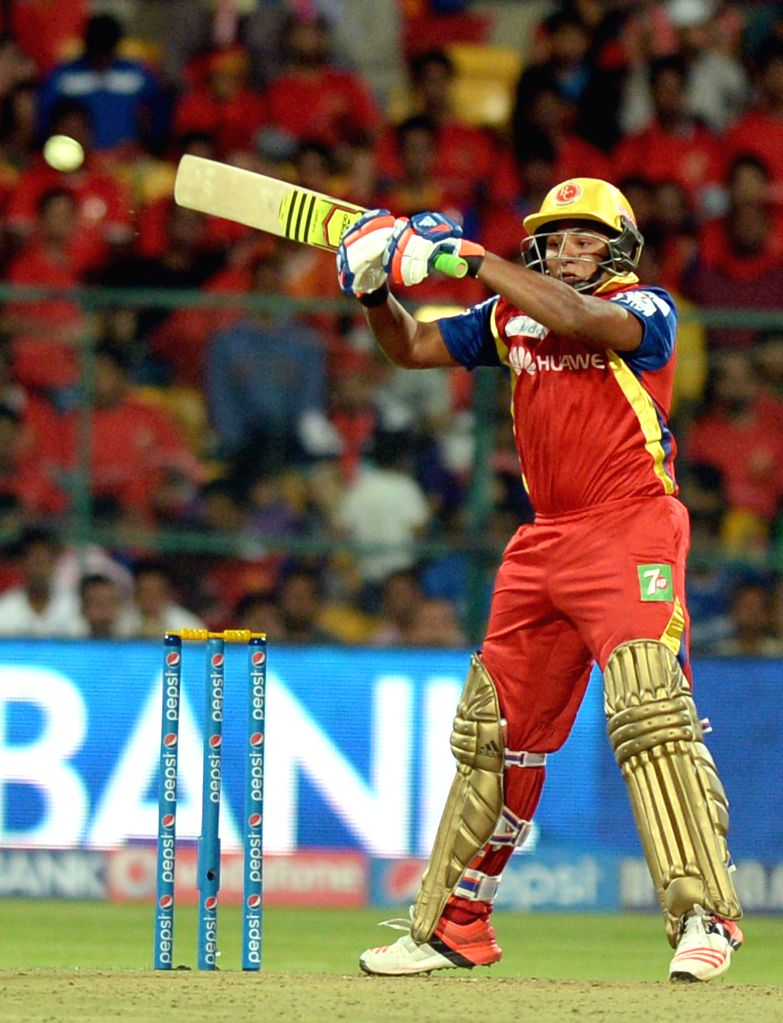 Royal Challengers Bangalore batsman Sarfaraz Khan in action during an IPL-2015 match between Royal Challengers Bangalore and Rajasthan Royals at M Chinnaswamy Stadium in Bangaluru on April ... - Sarfaraz Khan