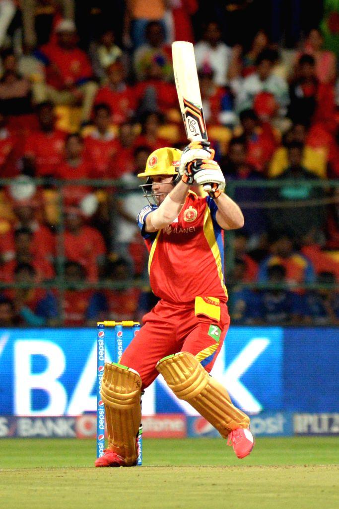 Royal Challengers Bangalore batsman AB de Villiers in action during an IPL-2015 match between Royal Challengers Bangalore and Rajasthan Royals at M Chinnaswamy Stadium in Bangaluru on ...