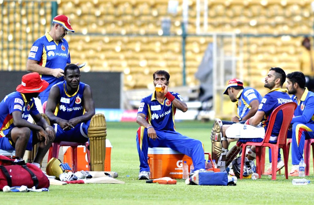 Royal Challengers Bangalore player during a practice session at M Chinnaswamy Stadium, in Bengaluru, on April 18, 2015.