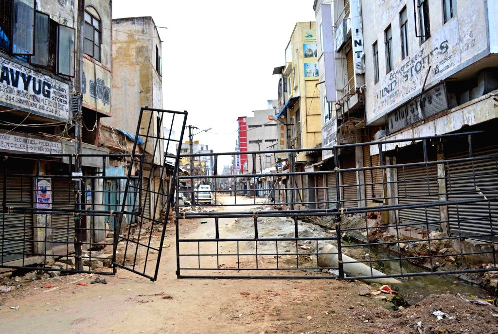 Bengaluru's Shivaji Nagar sealed after a 34-year-old resident tested postive for COVID-19 during the extended nationwide lockdown imposed to mitigate the spread of coronavirus, on May 6, ...