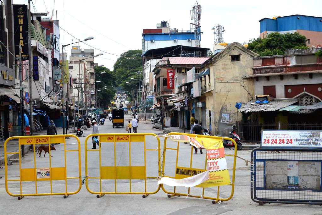 Bengaluru's Shivaji Nagar sealed after the number of people testing COVID-19 positive in the containment zone increased significantly, during the extended nationwide lockdown imposed to mitigate the spread of coronavirus, on May 18, 2020. (Photo: IAN
