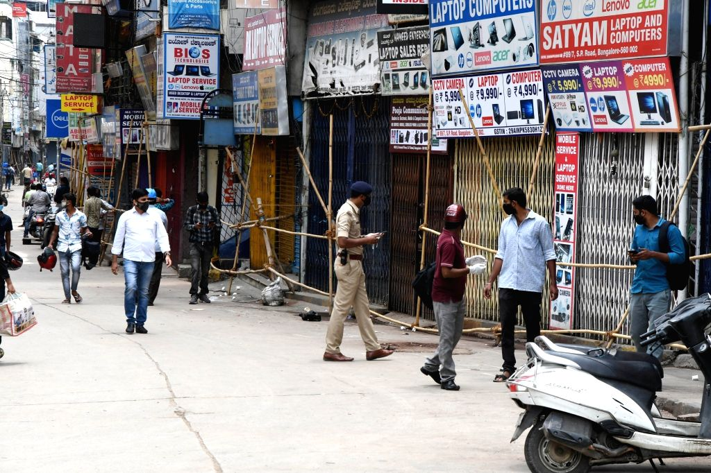 Bengaluru's SP Road has been sealed by the district authorities during a strict lockdown that has been re-imposed for 15 days in five wards across the city to contain the spread of ...