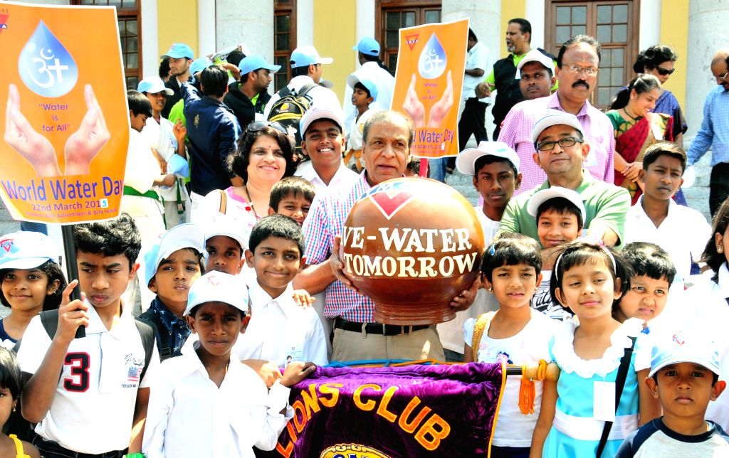 "Bengaluru : School children at the ""World Water Day"" rally organsied by YMCA in Bengaluru on March 22, 2015."