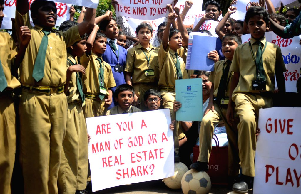School students protest against BBMP urging it to return their playground in Bengaluru on Feb 27, 2015.