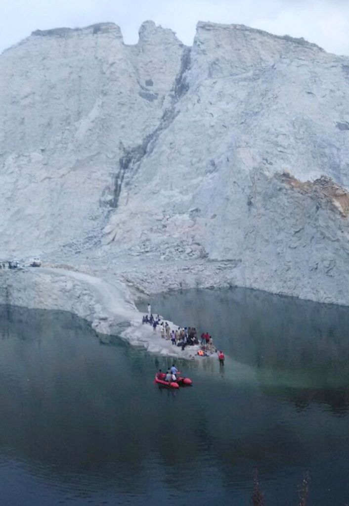 Search operations underway to trace the bodies of the five students, who drowned in a stone quarry pit, in Bettahalasur of Chikkajala, near Yelahanka Air force Station, in Bengaluru on ...