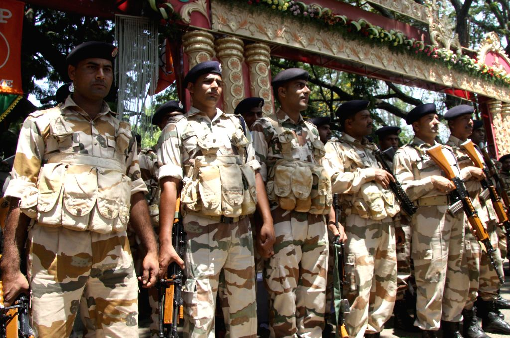 Security beefed-up at the venue of BJP National Executive meeting in Bengaluru, on April 2, 2015.