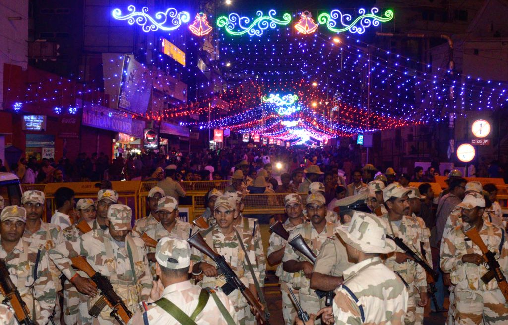 Security beefed-up in Bengaluru during  new year celebrations at Brigade Road on Dec 31, 2014.