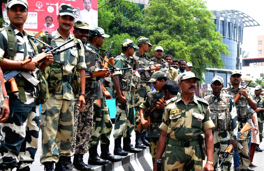 Security beefed-up in Bengaluru in the wake of BJP National Executive Committee meeting, on April 3, 2015.
