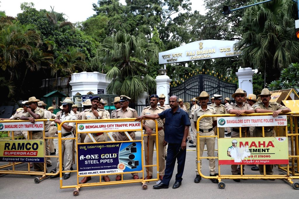Bengaluru: Security beefed up outside Raj Bhawan in Bengaluru on July 8, 2019. After 22 Congress ministers, all nine Janata Dal-Secular (JD-S) ministers in the Karnataka coalition government also submitted their resignations. (Photo: IANS)