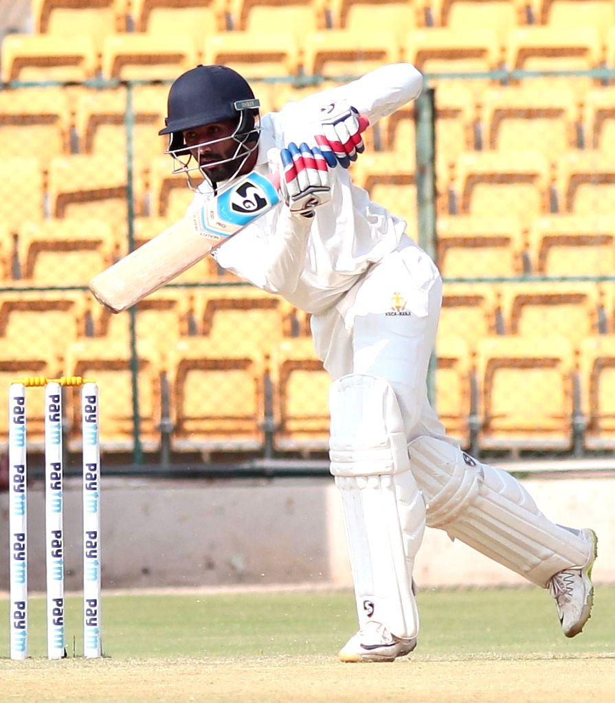 Bengaluru: Shreyas Gopal of Karnataka in action during the semi-final Ranji Trophy match between Karnataka and Saurashtra at Chinnaswamy Stadium in Bengaluru on Jan 24, 2019. (Photo: IANS)