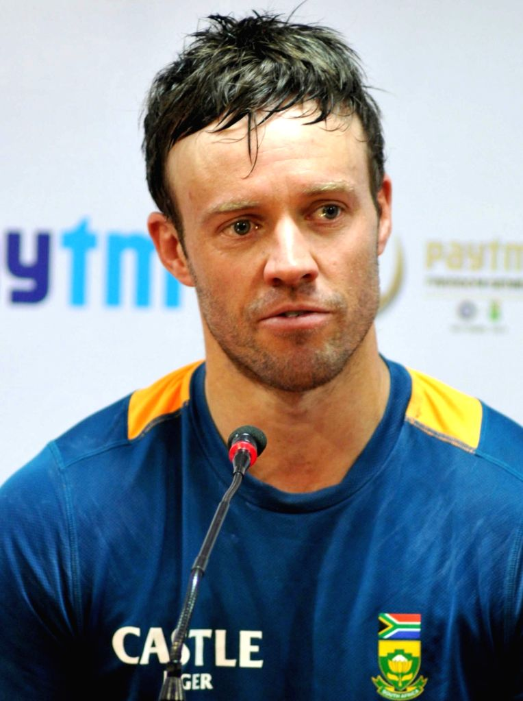 : Bengaluru: South African cricketer AB de Villiers during a press conference at Chinnaswamy Stadium, in Bengaluru on Nov. 12, 2015. (Photo: IANS).