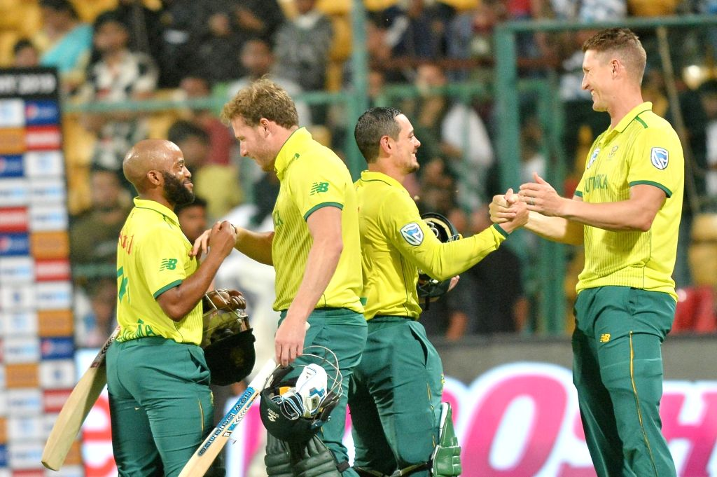 Bengaluru: South African players celebrate after winning the 3rd T20I match against India at M. Chinnaswamy Stadium in Bengaluru on Sep 22, 2019. (Photo: IANS)