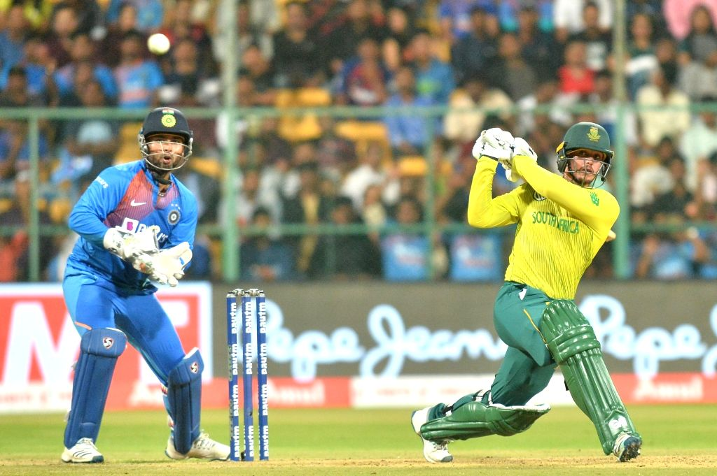 Bengaluru: South African skipper Quinton de Kock in action during the 3rd T20I match between India and South Africa at M. Chinnaswamy Stadium in Bengaluru on Sep 22, 2019. (Photo: IANS)