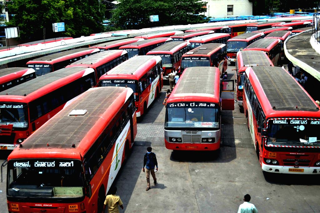 Bengaluru: Special buses to ferry migrant workers home in Bengaluru during the extended nationwide lockdown imposed to mitigate the spread of coronavirus, on May 6, 2020. (Photo: IANS)