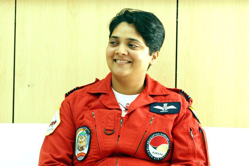 Squadron leader Deepika Misra during Aero India Show 2015 at Yelhanka Airforce Station, in Bengaluru on Feb 20, 2015.