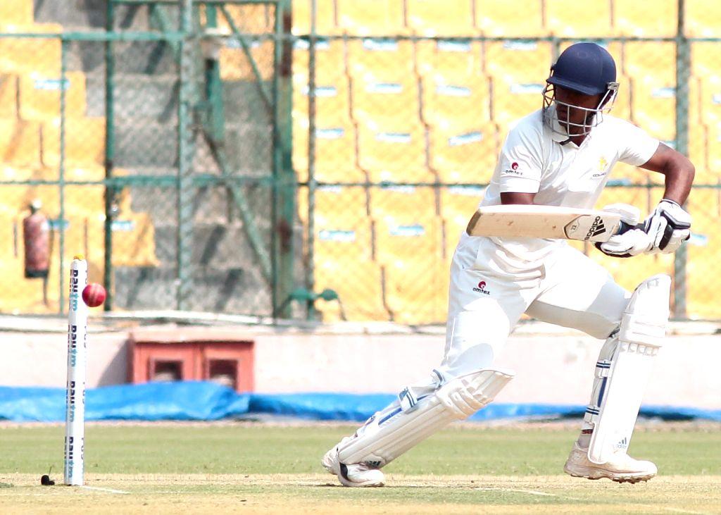 Bengaluru: Srinivas Sharath of Karnataka in action during the semi-final Ranji Trophy match between Karnataka and Saurashtra at Chinnaswamy Stadium in Bengaluru on Jan 24, 2019. (Photo: IANS)