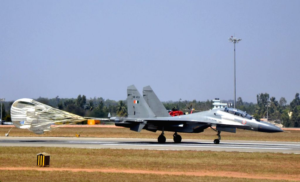 Sukhoi flies in Bengaluru skies during the rehearsal for the Aero India show 2015 at Yelhanaka Airforce Station on Feb 14, 2015.
