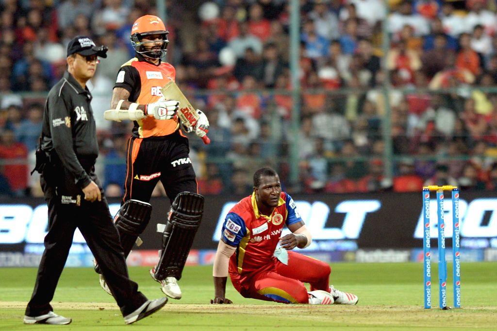 Sunrisers Hyderabad batsman Shikhar Dhawan in action during an IPL-2015 match between Royal Challengers Bangalore and Sunrisers Hyderabad at M Chinnaswamy Stadium, in Bengaluru, on April ... - Shikhar Dhawan