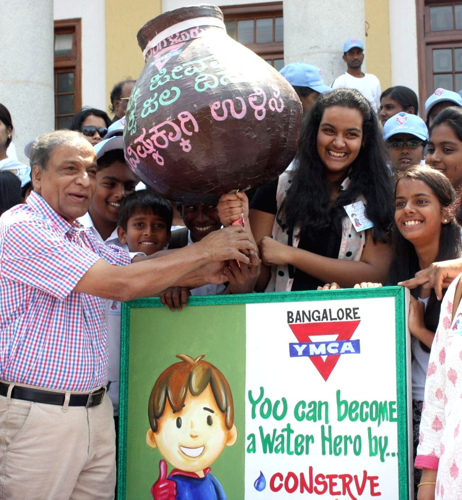 "Bengaluru : Suresh Heblikar, Chairman, Eco-watch at the ""World Water Day"" rally organsied by YMCA in Bengaluru on March 22, 2015."