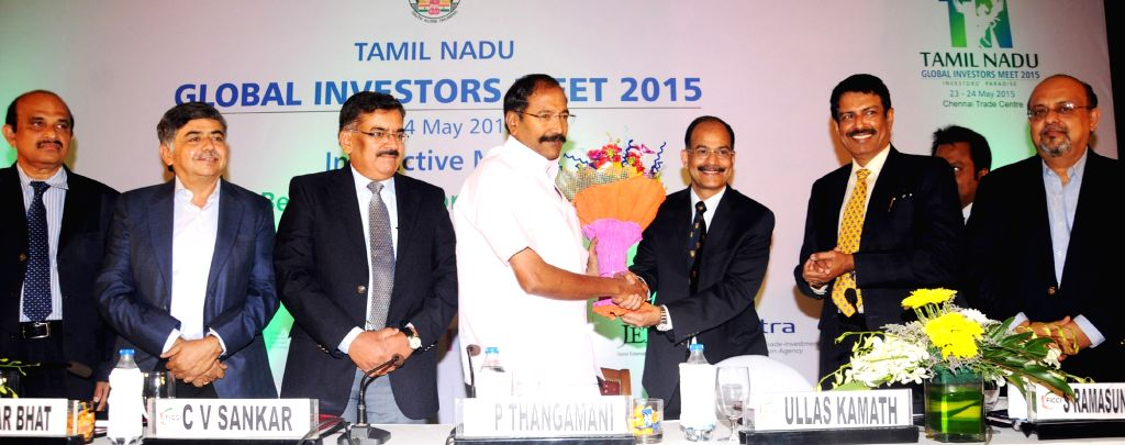 Tamil Nadu Minister P Thangamani with FICCI- Karnataka State Council  Chairman Ullas Kamath and others during a programme in Bengaluru on April 8, 2015. - P Thangamani