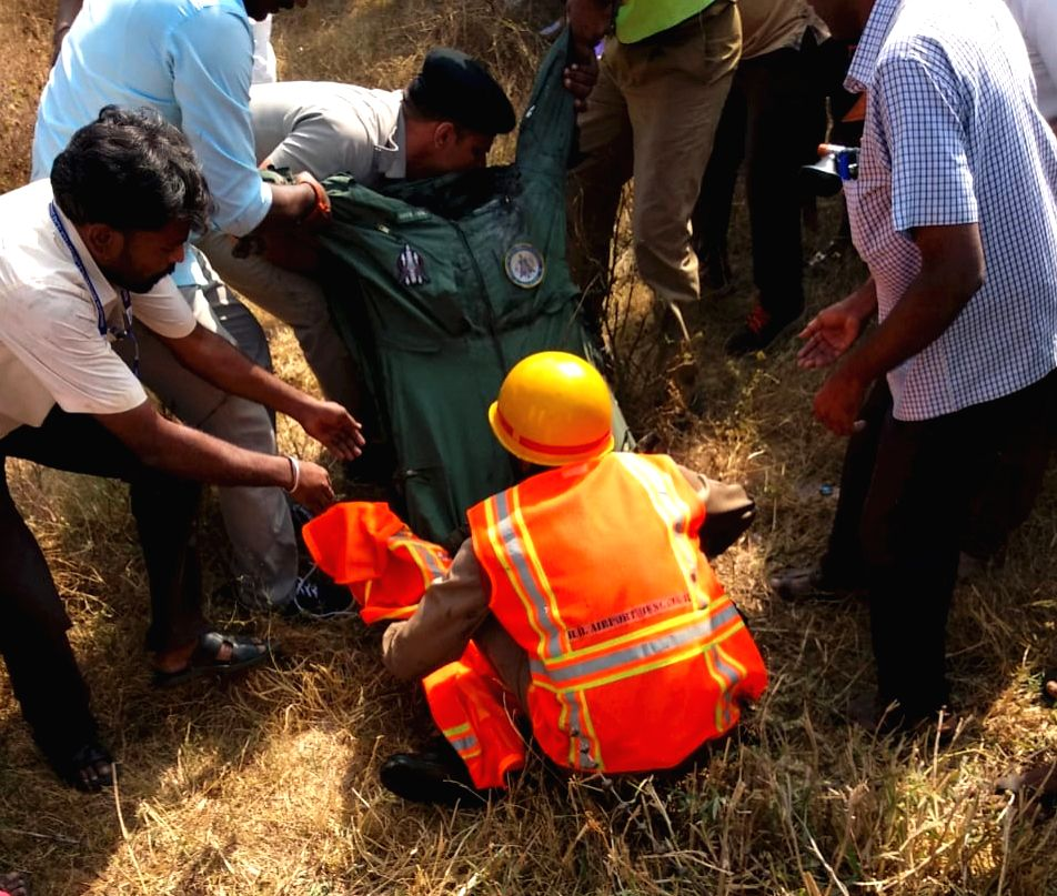 Bengaluru: The body of one of the two Indian Air Force pilots who died in a Mirage-2000 fighter crash in the Bengaluru's eastern suburb on Feb 1, 2019. Two senior pilots identified as Squadron Leader Sameer Abrol and Squadron Leader Siddarth Negi die