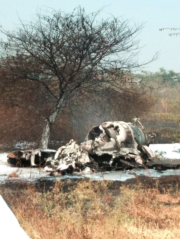 Bengaluru: The debris of Indian Air Force's (IAF) Mirage-2000 fighter that crashed at a military airport in Bengaluru's eastern suburb on Feb 1, 2019. Two senior pilots identified as Squadron Leader Sameer Abrol and Squadron Leader Siddarth Negi died