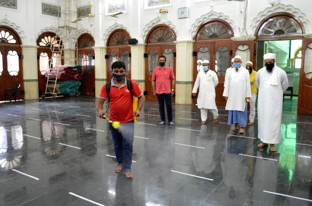 Bengaluru: The Jamia Masjid being sanitised as it gears up to re-open from June 8; in Bengaluru on June 6, 2020. (Photo: IANS)