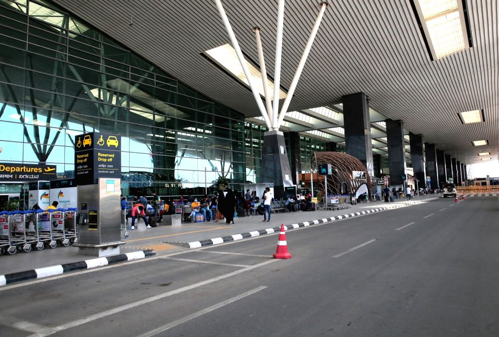 Bengaluru: The Kempegowda International Airport bears a deserted look during nationwide shutdown - Janata Curfew - imposed to contain the spread of COVID-19, in Bengaluru on March 22, 2020. (Photo:IANS)