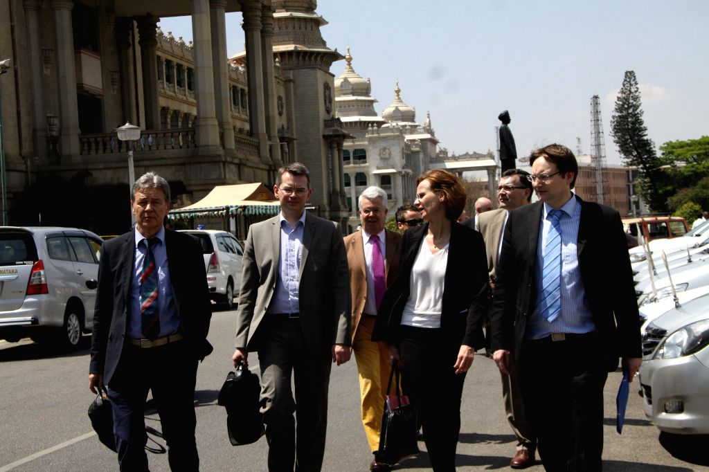 The members of a German delegation during their visit to Vidhan Soudha in Bengaluru on March 16, 2015.