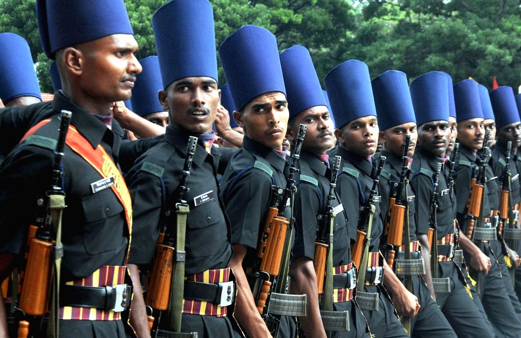 The new recruits of Madras Sappers during their passing out parade at Madras Engineer Group and Centre in Bengaluru on June 12, 2015.
