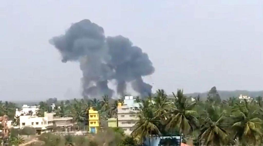 Bengaluru: The site where IAF's two Surya Kiran aircraft crashed in Bengaluru on Feb 19, 2019. (Photo: IANS)