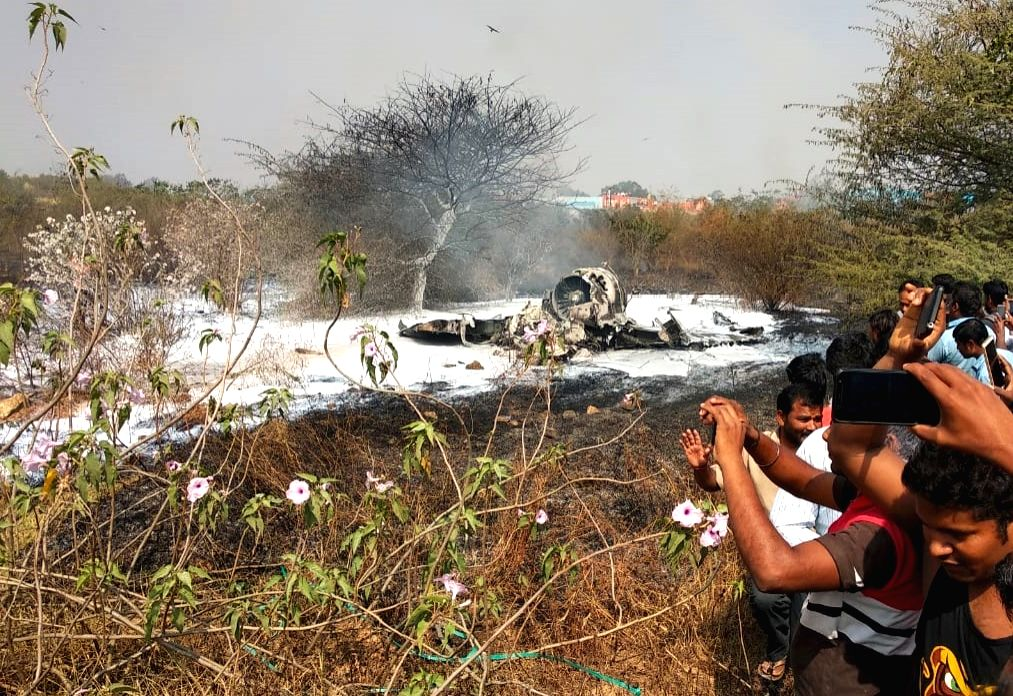 Bengaluru: The site where Indian Air Force's (IAF) Mirage-2000 fighter crashed at a military airport in the Bengaluru's eastern suburb on Feb 1, 2019. Two senior pilots identified as Squadron Leader Sameer Abrol and Squadron Leader Siddarth Negi died