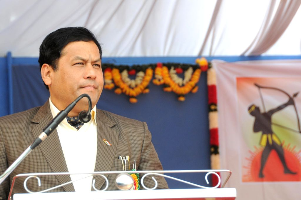 The Union Minister of State for Youth Affairs and Sports (Independent Charge), Sarbananda Sonowal during last day of the 17th National Varanasi Archery Competition at Vagedvi School in ...