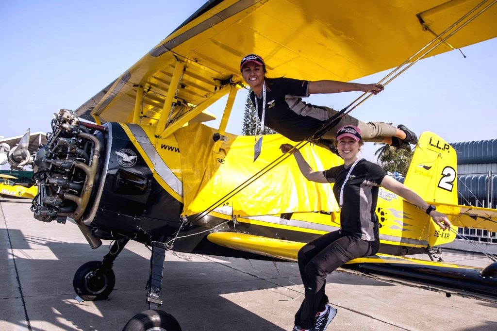 The wingwalkers during AERO show 2015 rehearsal at Yelhanka airforce station, in Bengaluru on Feb 16, 2015.