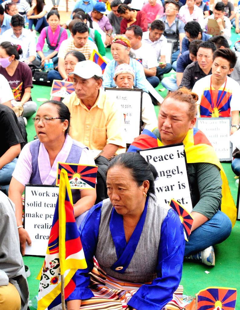 Tibetan Youth Congress workers stage a demonstration on Tibetan National Uprising Day at Bannappa Park in Bengaluru, on March 10, 2015.
