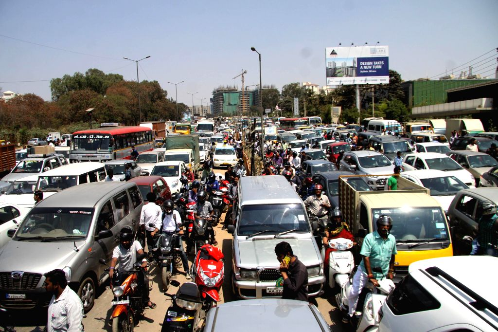 Traffic comes to a stand still as a result of students' demonstrate to demand safe roads, following the deadly road mishap in Hebbal on  26th Feb  2015, which claimed two lives and left ...