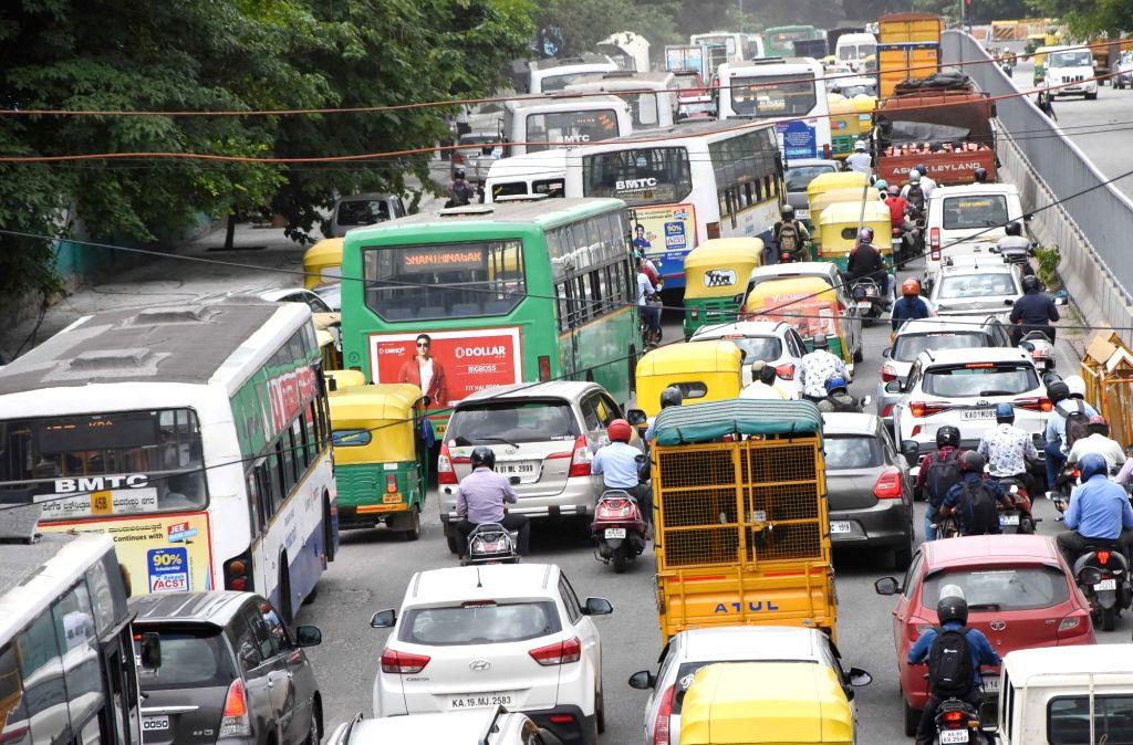 Bengaluru : Traffic jam at Seshadri Road, after the Karnataka government eased restrictions for travel amid ongoing Coronavirus lockdown, in Bengaluru on Tuesday, June 22, 2021