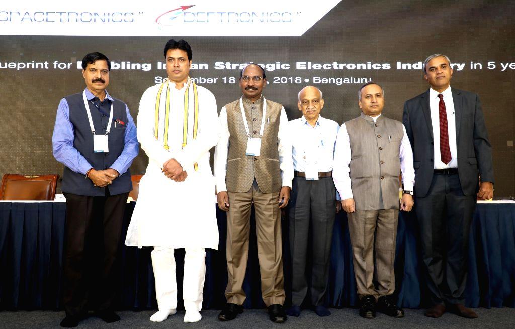 :Bengaluru: Tripura Chief Minister Biplab Kumar Deb, ISRO Chairman Dr. K Sivan, ISRO CBPO Dr.P V Venkitakrishnan, Former ISRO Chairman Dr. A S Kiran Kumar, IESA Chairman Anil Kumar Muniswamy at the ...