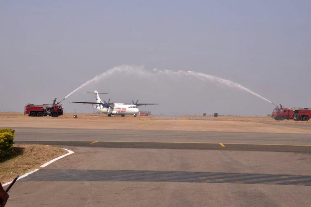 Bengaluru: Trujet launched a daily flight between Bengaluru and Bidar town in northeastern Karnataka on Feb 07, 2020. (Photo: IANS)