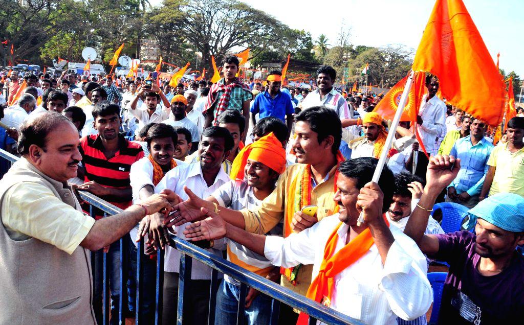 Union Chemical and Fertilizer Minister Anant Kumar during Vishwa Hindu Parishad's Virat Hindu Samavesha at  National College Grounds, Basavanagudi, in Bengaluru on Feb 8, 2015. - Anant Kumar