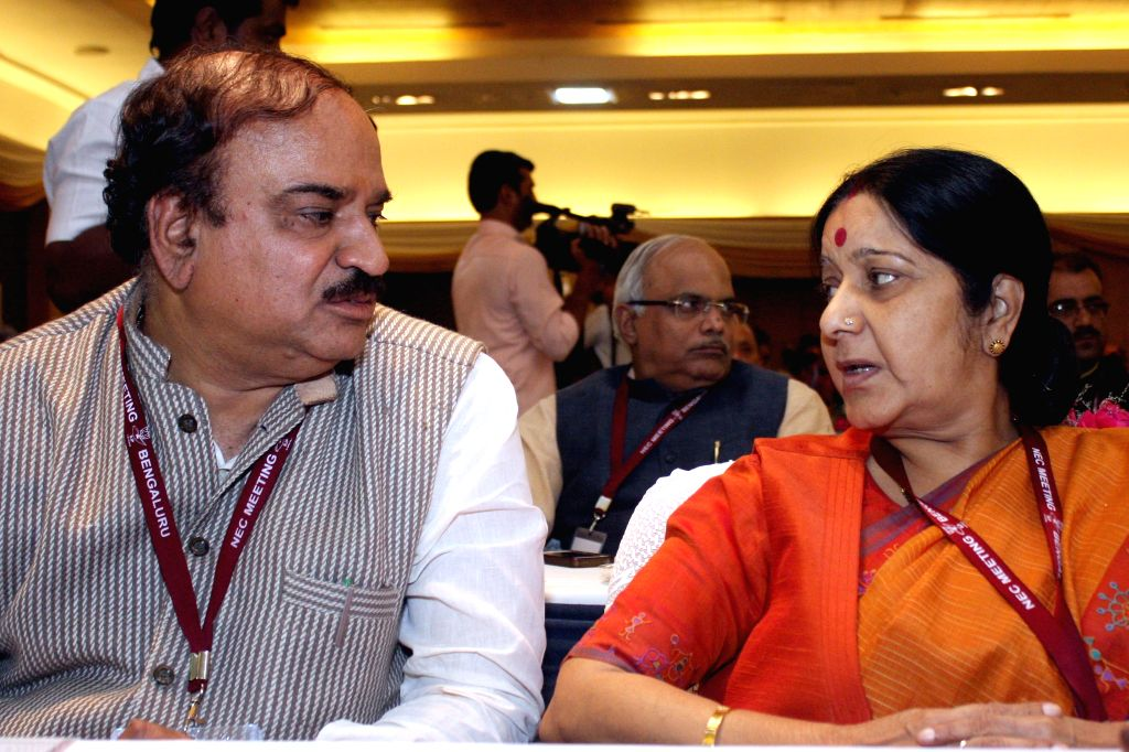 Union Chemicals and Fertilizers Minister Ananth Kumar and External Affairs Minister Sushma Swaraj during BJP National Executive Committee meeting in Bengaluru on April 2, 2015. - Ananth Kumar and Sushma Swaraj