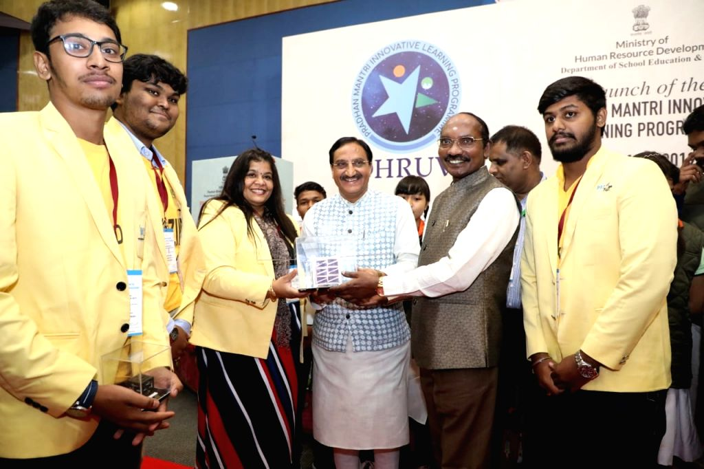 """Bengaluru: Union HRD Minister Ramesh Pokhriyal Nishank and ISRO Chairman Dr. K. Sivan during launch of the ambitious programme """"Druv taara"""" at the Indian space agency office in Bengaluru on Oct 10, 2019. (Photo: IANS) - Ramesh Pokhriyal Nishank"""