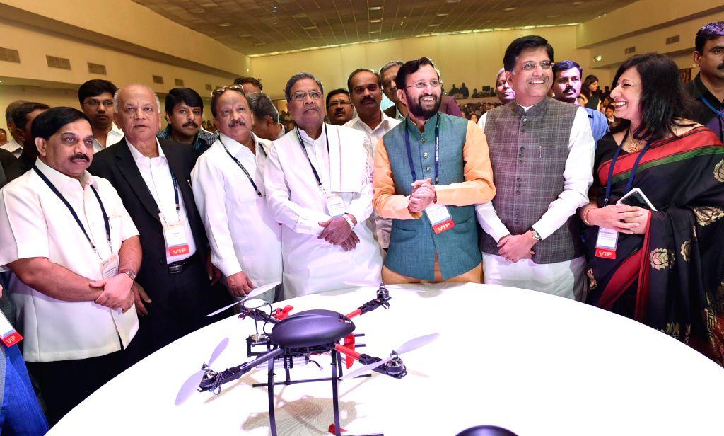 Union Ministers Prakash Javadekar, Piyush Goyal with Karnataka Chief Minister Siddaramaiah, Karnataka Minister R Roshan Baig and others at the inauguration of `India Bio - 2015` in ... - Siddaramaiah, Prakash Javadekar, Piyush Goyal and R Roshan Baig