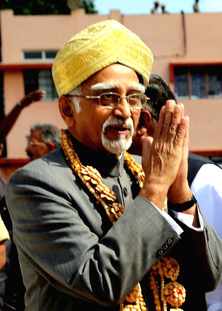 Vice President Mohd. Hamid Ansari arrives at the HAL airport Bengaluru on Jan. 5, 2015.