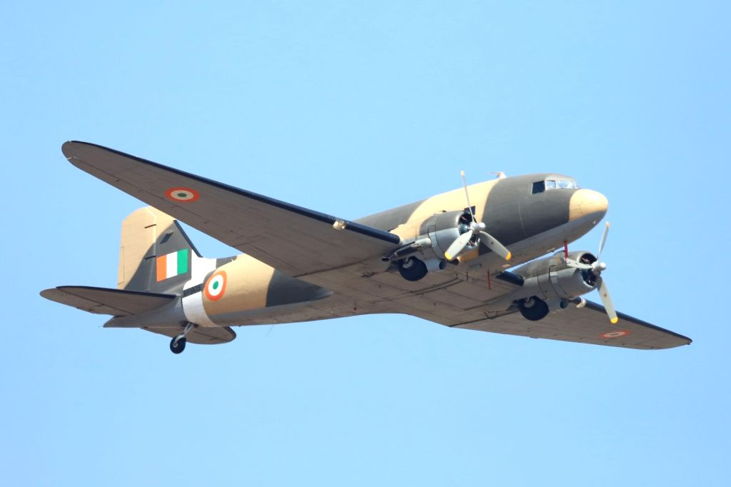 "Bengaluru: Vintage Dakota DC-3 aircraft perform during the inauguration of the ""Aero India 2019"" - air show at Yelahanka Air Force Station, in Bengaluru, on Feb 20, 2019. (Photo: IANS)"