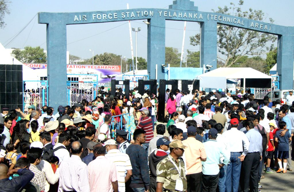 Visitors at the Aero India-2015 Air Show, at Yelahanka Air-force Station, in Bengaluru on Feb 21, 2015.