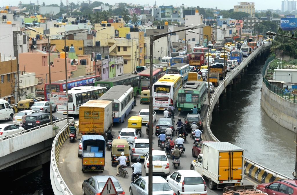 Bengaluru witnesses heavy traffic jam as metro train service were shut due to a protest by Bangalore Metro Rail Corporation Limited (BMRCL) staff in Bengaluru on July 7, 2017. Bangalore ...