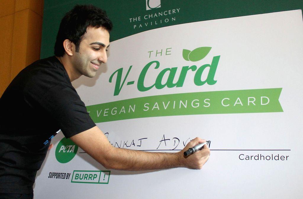 World Billiards Champion Pankaj Advani at the Launch of PETAs V Card in Bengaluru, on Nov 12, 2014.